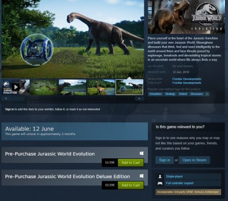 Jurassic World Evolution. Анонс